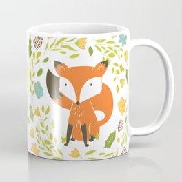 Woodland Fox illustration with cute floral wreath Coffee Mug