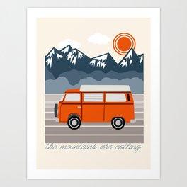 Van Life III - mountains van road tripping travel camping bus RV art Art Print