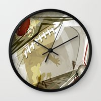 football Wall Clocks featuring Football by Robin Curtiss