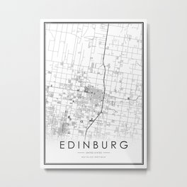 Edinburg City Map United States White and Black Metal Print