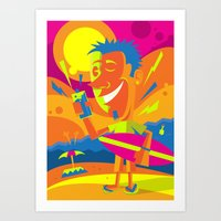 surfer Art Prints featuring Surfer by Roberlan Borges