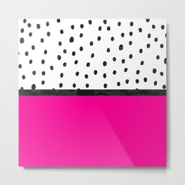 Handdrawn neon pink black watercolor polka dots Metal Print