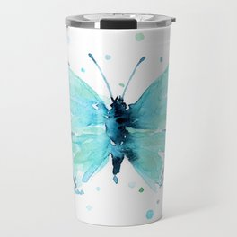 Blue Abstract Butterfly Travel Mug