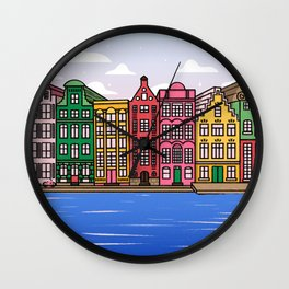 Amsterdam Dutch Houses  Wall Clock
