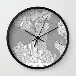 Seattle Map Line Wall Clock
