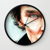 benedict cumberbatch Wall Clocks featuring Benedict Cumberbatch - Sherlock  by Cécile Pellerin
