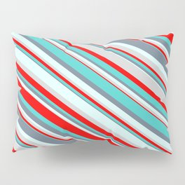 Colorful Light Grey, Red, Turquoise, Slate Gray & Light Cyan Colored Pattern of Stripes Pillow Sham
