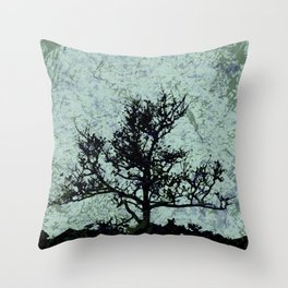 Tree Silhouette - blue marble-effect background Throw Pillow