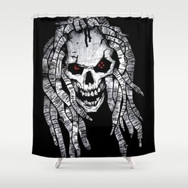 White reagge skull Shower Curtain