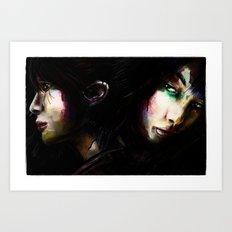 Face to Face Women Dark Digital Painting Art Print