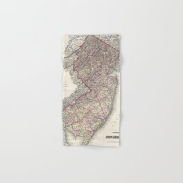 Vintage Map of New Jersey (1868) Hand & Bath Towel