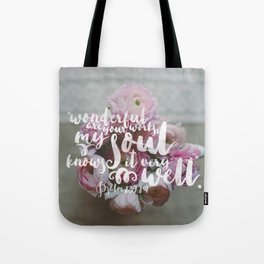 Psalm 139 14 Encouraging Scripture Ranunculus Floral Photograph Tote Bag