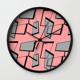 Rectangles on Pink Wall Clock