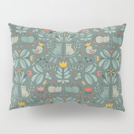 Swedish Folk Cats Pillow Sham