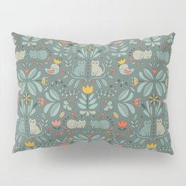 Swedish Folk Cats Pillow Sham