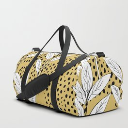 Summer leaves fall is coming garden and raindrops ochre yellow Duffle Bag