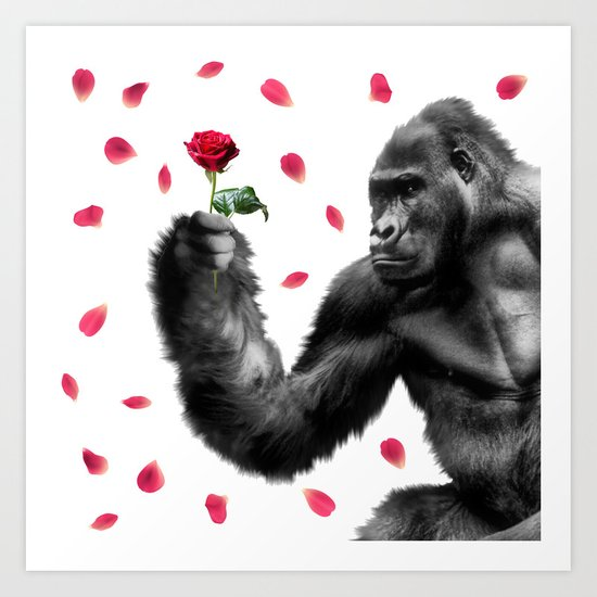 Gorilla In Love Art Print