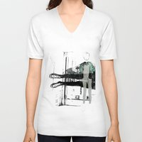 manchester V-neck T-shirts featuring Manchester England Street FASHION 1 by Anca Pora