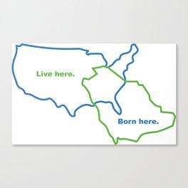 USA and Saudi Arabia Maps Combined Canvas Print