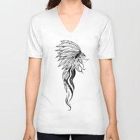 headdress V-neck T-shirts featuring Headdress by Drigo
