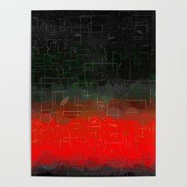 Dark Red Black Emerald  Multi-Pattern Overlay Design Poster