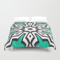 mod Duvet Covers featuring Mod Aqua by Abstracts by Josrick