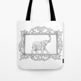 grey frame with elephant Tote Bag
