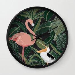 Flamingo and Pelican Wall Clock