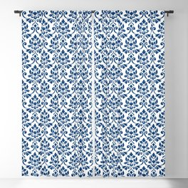 Feuille Damask Pattern Dark Blue on White Blackout Curtain
