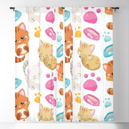 Pattern Of Cats, Colorful Cats, Cat Bowls, Paws Blackout Curtain