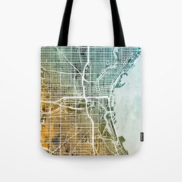 Milwaukee Wisconsin City Map Tote Bag