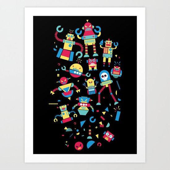 Angrrry Robots! Art Print