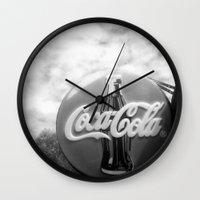 coca cola Wall Clocks featuring Coca Cola  by Chris' Landscape Images & Designs
