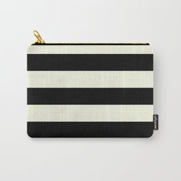 Preppy mid century modern minimalist Paris Chic Black And White Stripes Carry-All Pouch