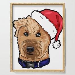 Irish Soft Coated Wheaten Terrier Dog Christmas Hat Serving Tray