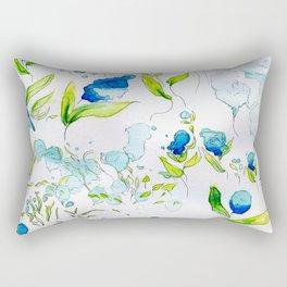Blue Drippy Flowers Rectangular Pillow