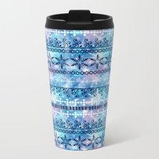 Christmas ornament. Blue, white pattern on a blue background. Metal Travel Mug