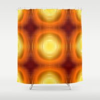 70s Shower Curtains featuring Flashy 70s,effect,red by MehrFarbeimLeben