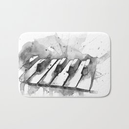 Watercolor Piano (Grayscale) Bath Mat