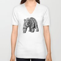 ornate V-neck T-shirts featuring Ornate Bear by BIOWORKZ