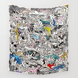Kamasutra LOVE Doodle Closeup Color Valentine Wall Tapestry