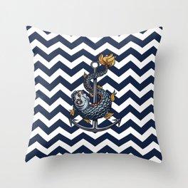 CHEVRON - Stay Anchored - Navy Blue Throw Pillow