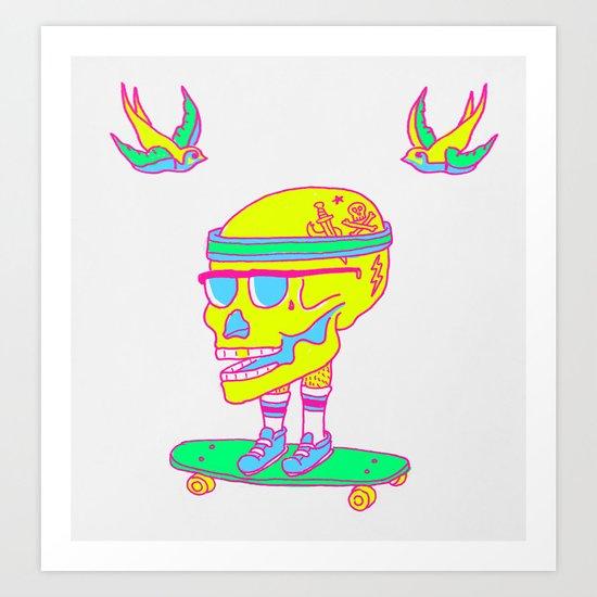 Skull on a skateboard Art Print