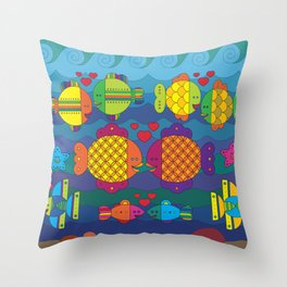 Stylize fantasy color fishes under sea water in love Throw Pillow