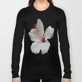 Pure White Hibiscus Tropical Flower Long Sleeve T-shirt