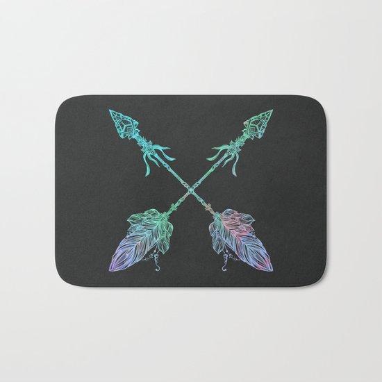 Tribals Arrows Turquoise on Gray Black Bath Mat