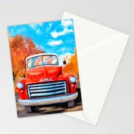 Old Red Truck On A Clear Fall Day Stationery Cards