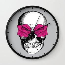 Skull and Roses | Grey and Pink Wall Clock