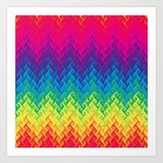 neon rainbow flame chevron Art Print