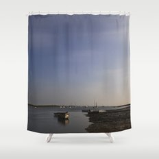 Moonlight on boats under a star filled sky. Brancaster Staithe, Norfolk, UK. Shower Curtain